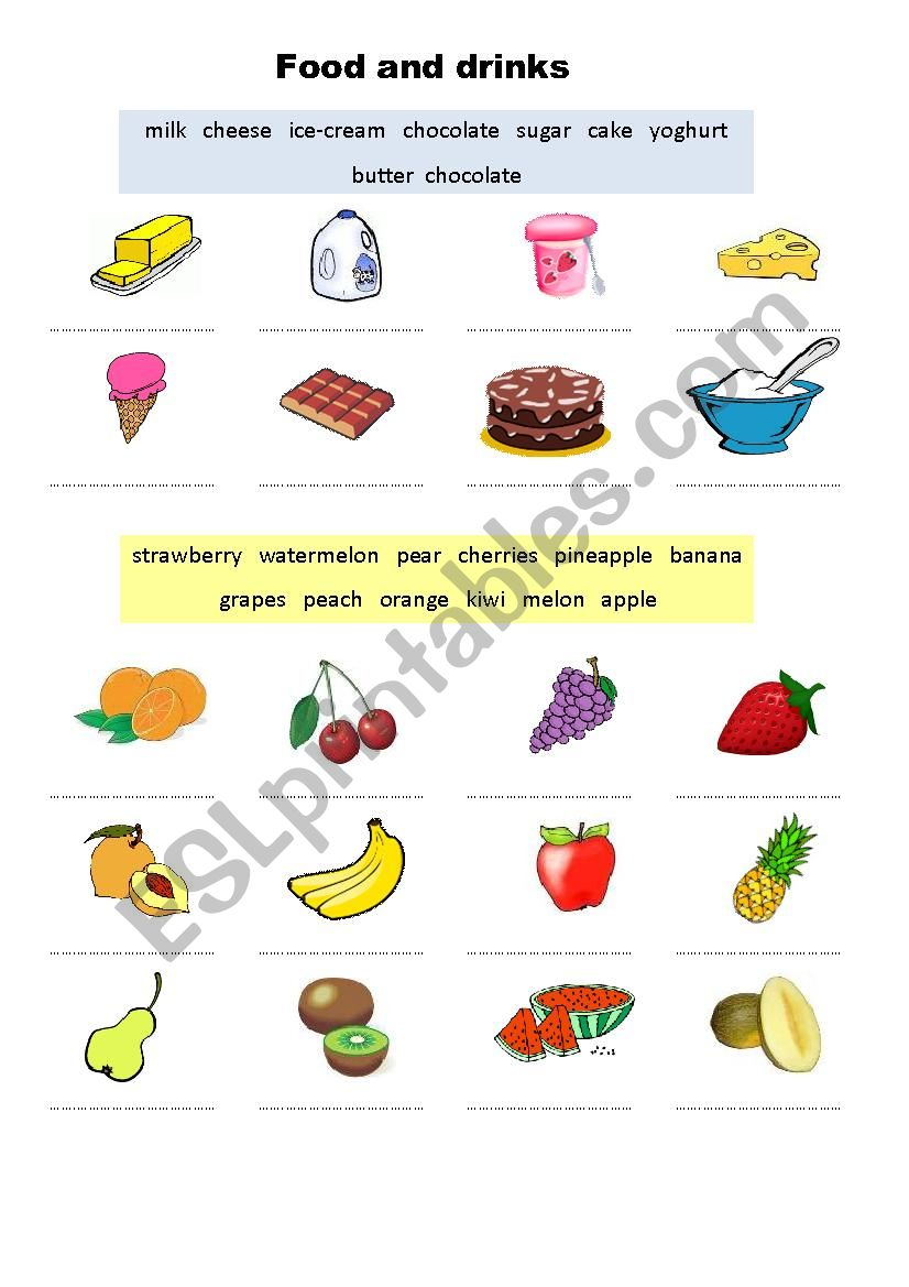 Food and drinks I worksheet