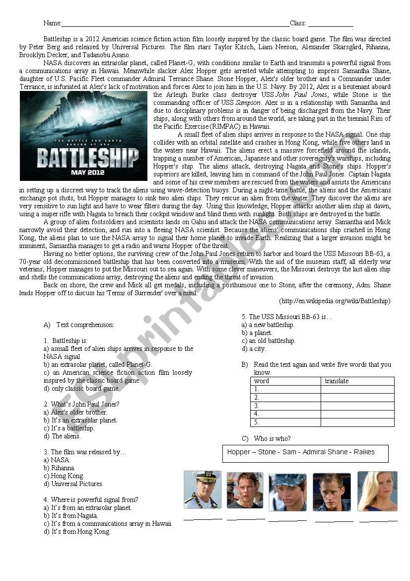 Battleship: Text Comprehension