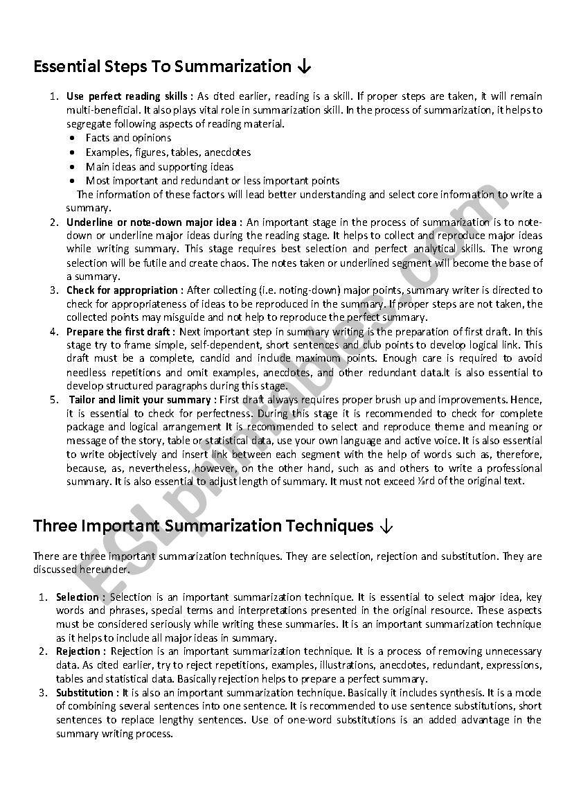 Summarize worksheet