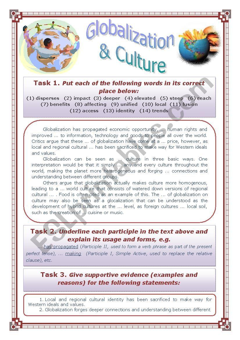 Globalization and Culture  worksheet