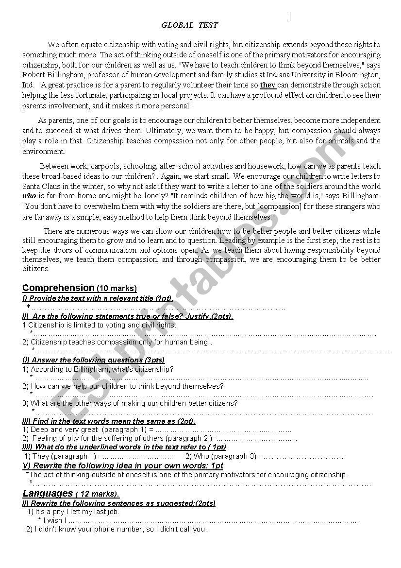 citizenship worksheet