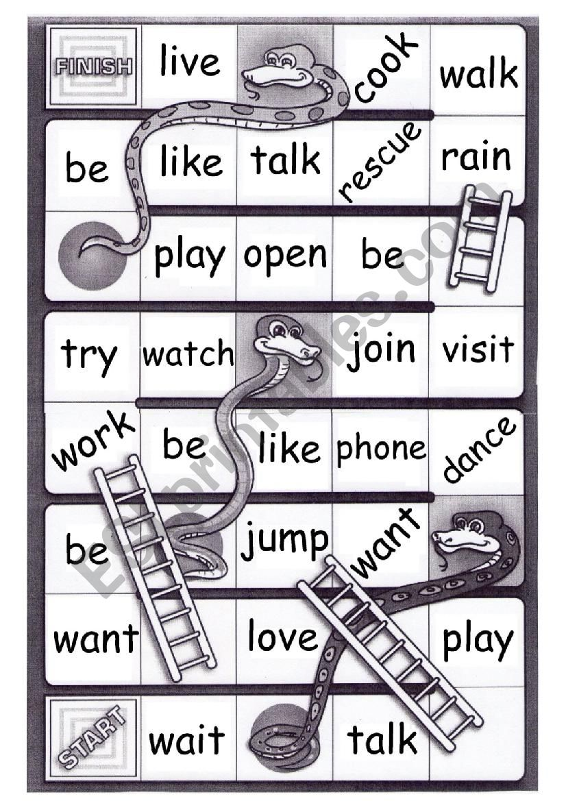 Regular verbs -  PRONUNCIATION - Snakes and ladders board game