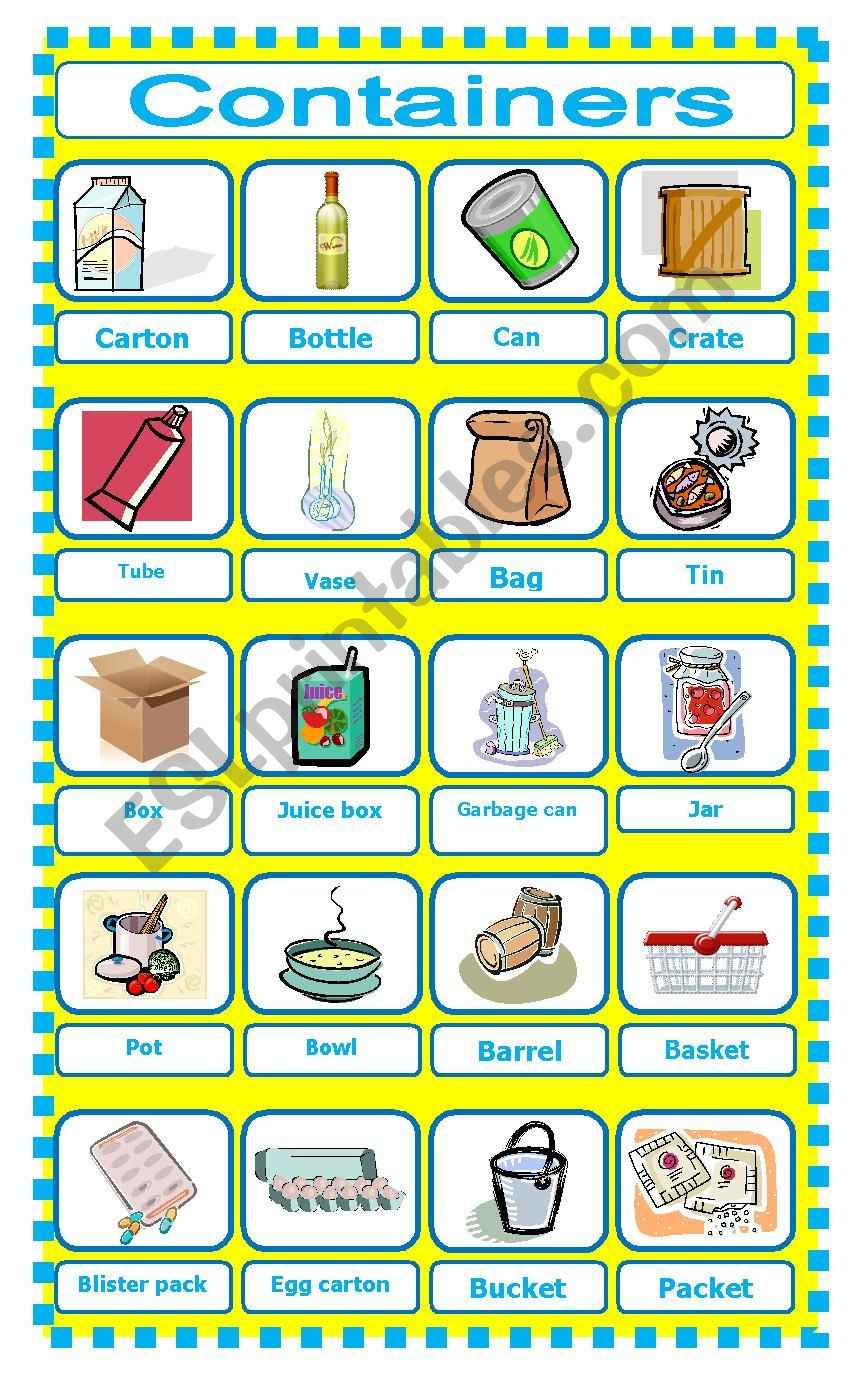 Containers pictionary worksheet