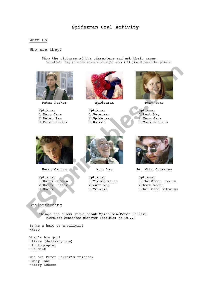 Spiderman 2 - Oral activity worksheet