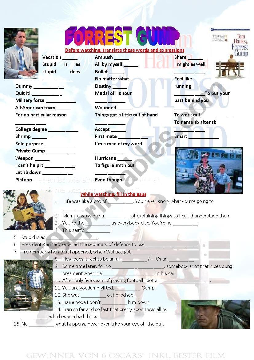 English worksheets: FORREST GUMP full movie worksheet