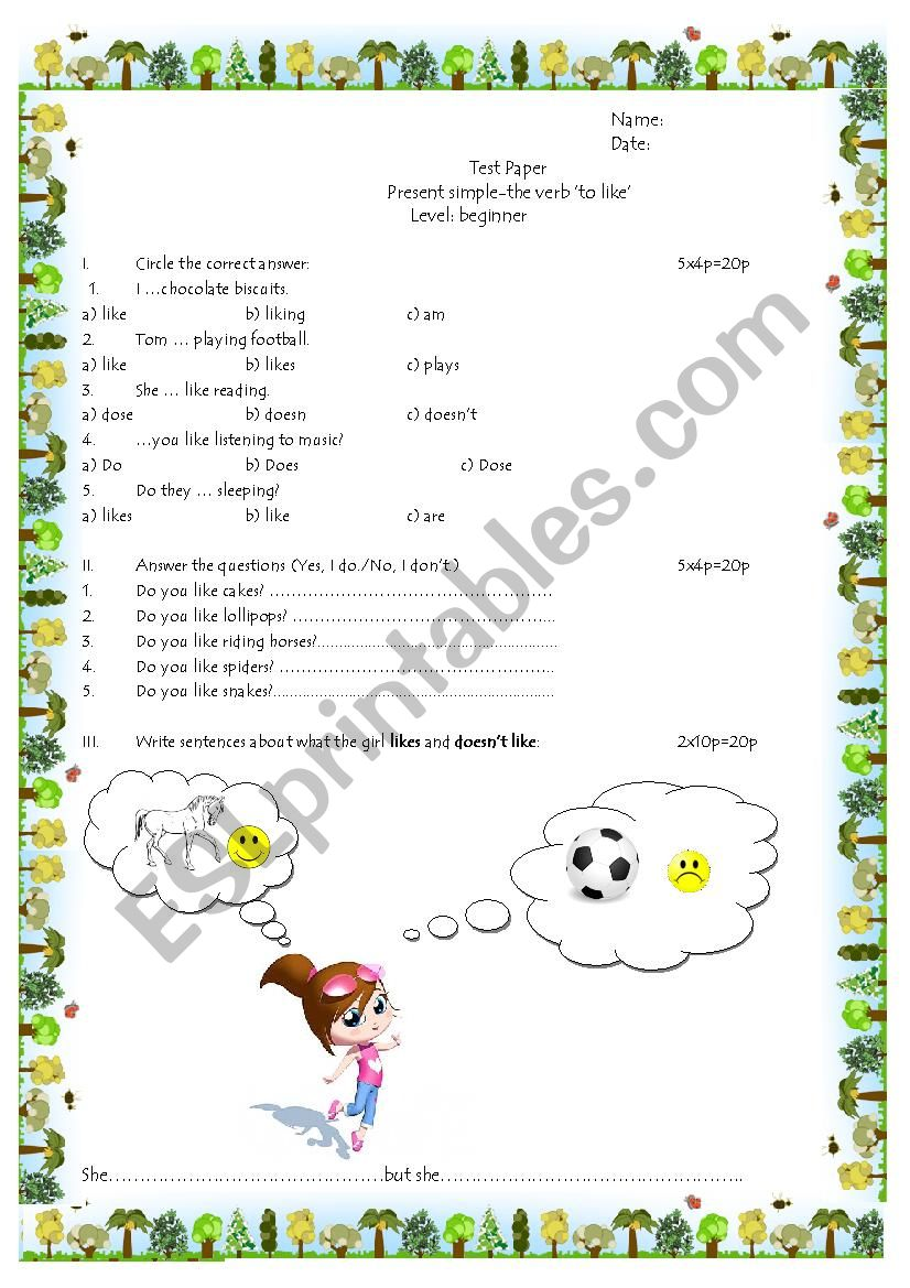 Test paper: ´to like´ worksheet