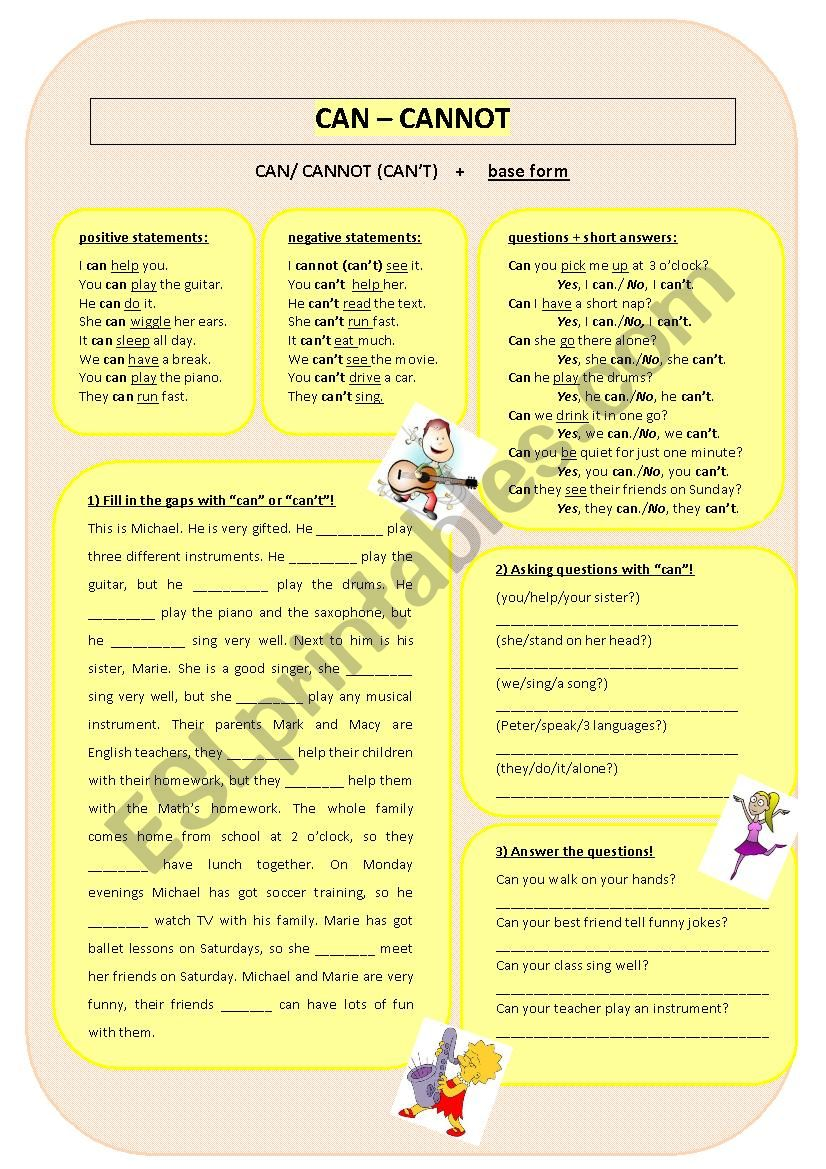 CAN - CANNOT worksheet