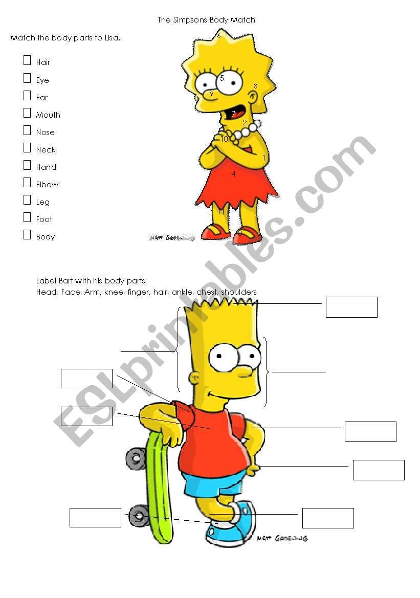 Simpsons Body Parts Worksheet worksheet