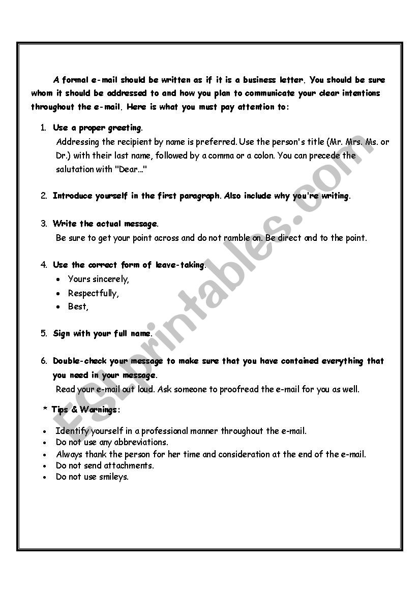 Writing a formal email - ESL worksheet by sany73