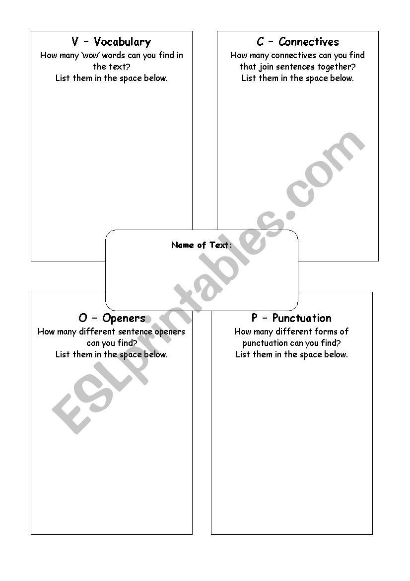 VCOP Finder - ESL worksheet by mygingerdolly