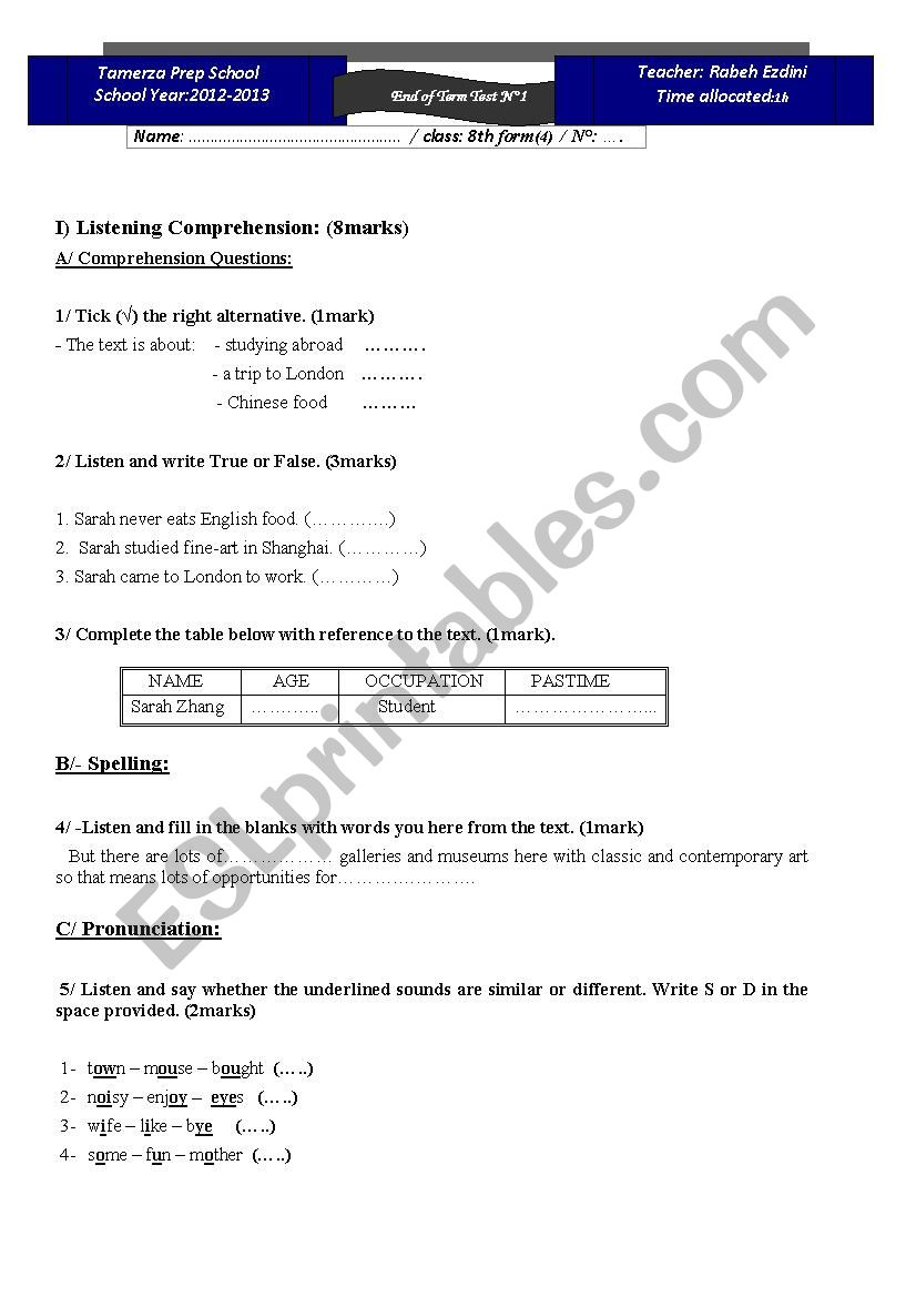 Mid-term test n°1/ 8th form worksheet