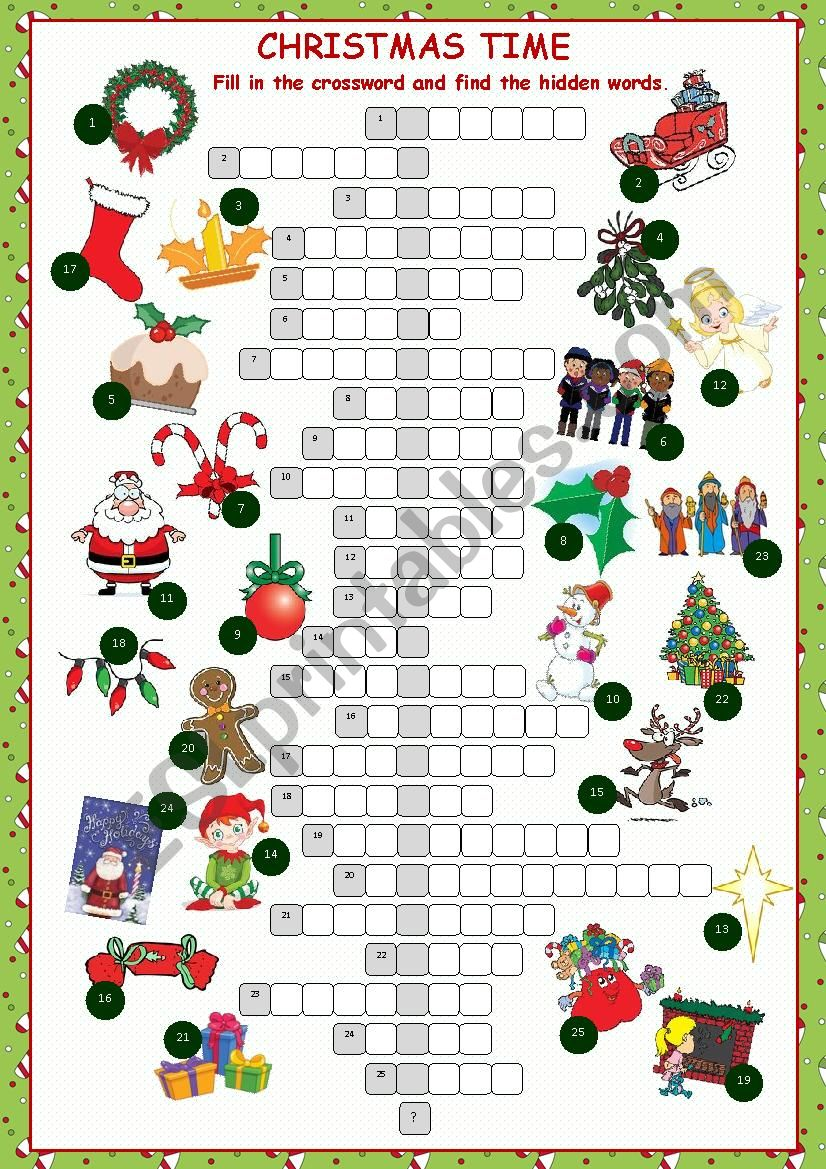 image about Christmas Crossword Puzzle Printable named Xmas Crossword Puzzle - ESL worksheet as a result of kissnetothedit