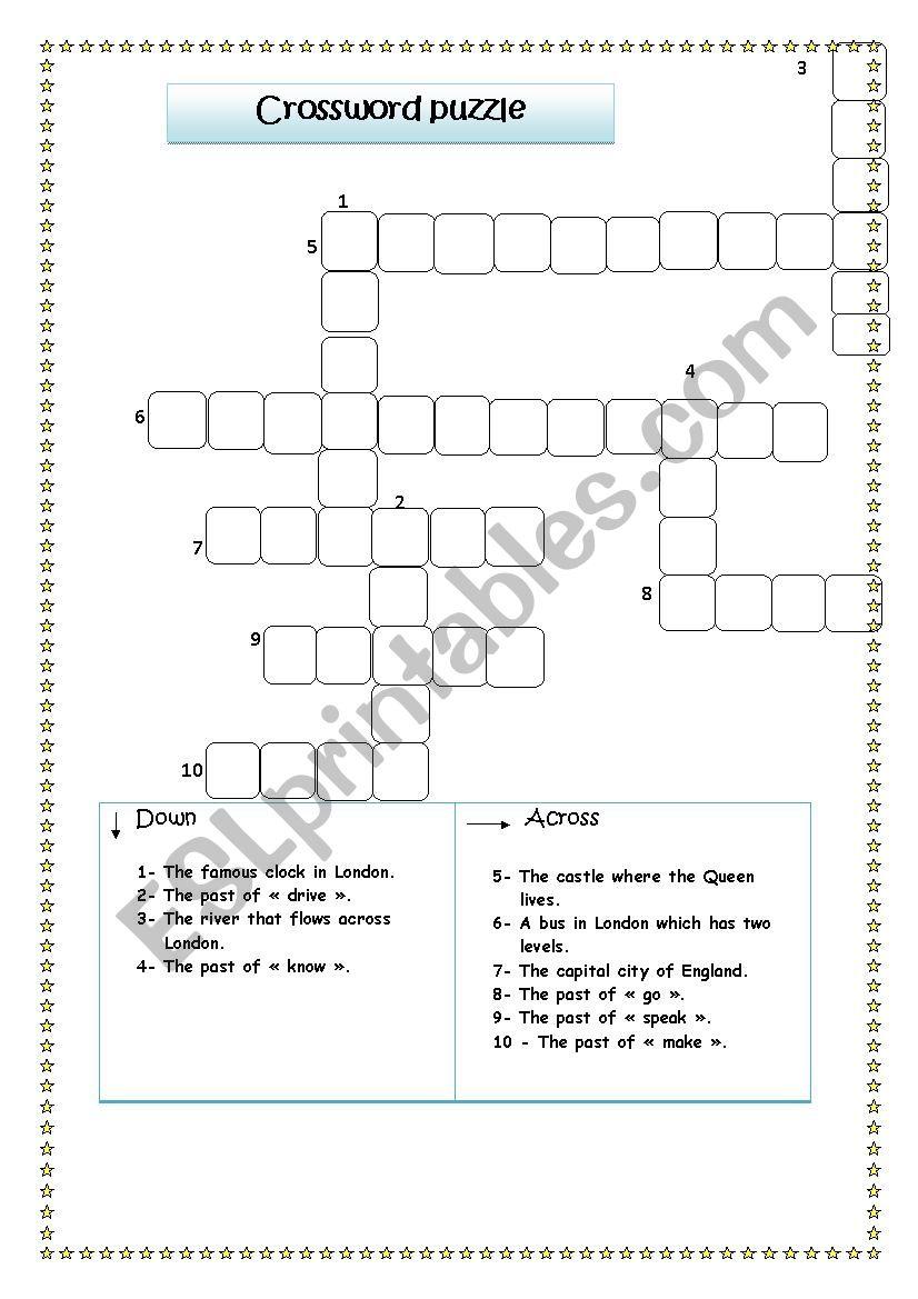 crossword puzzle worksheet