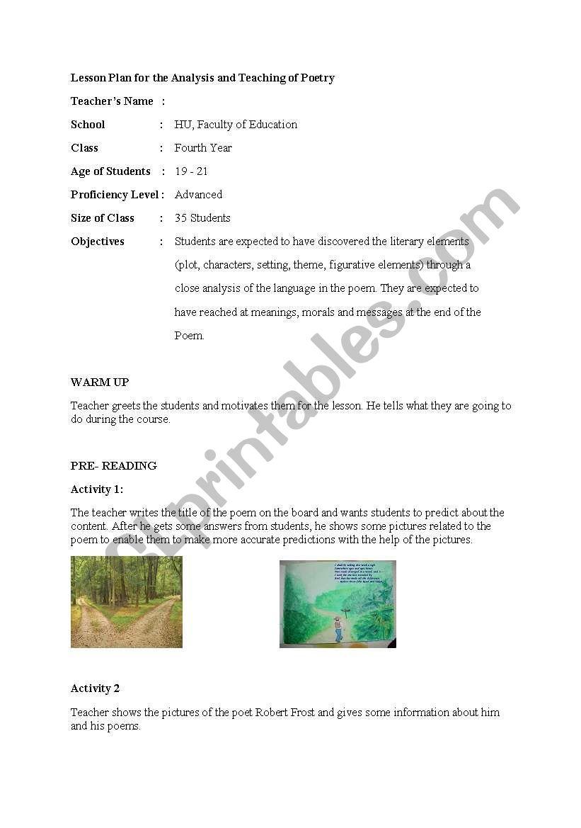 poem lesson plan worksheet
