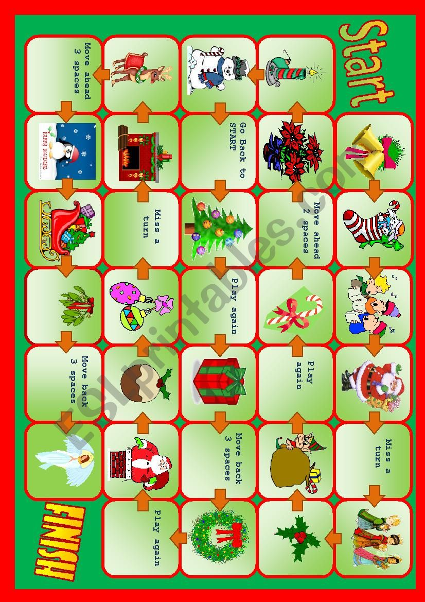 Christmas board game worksheet