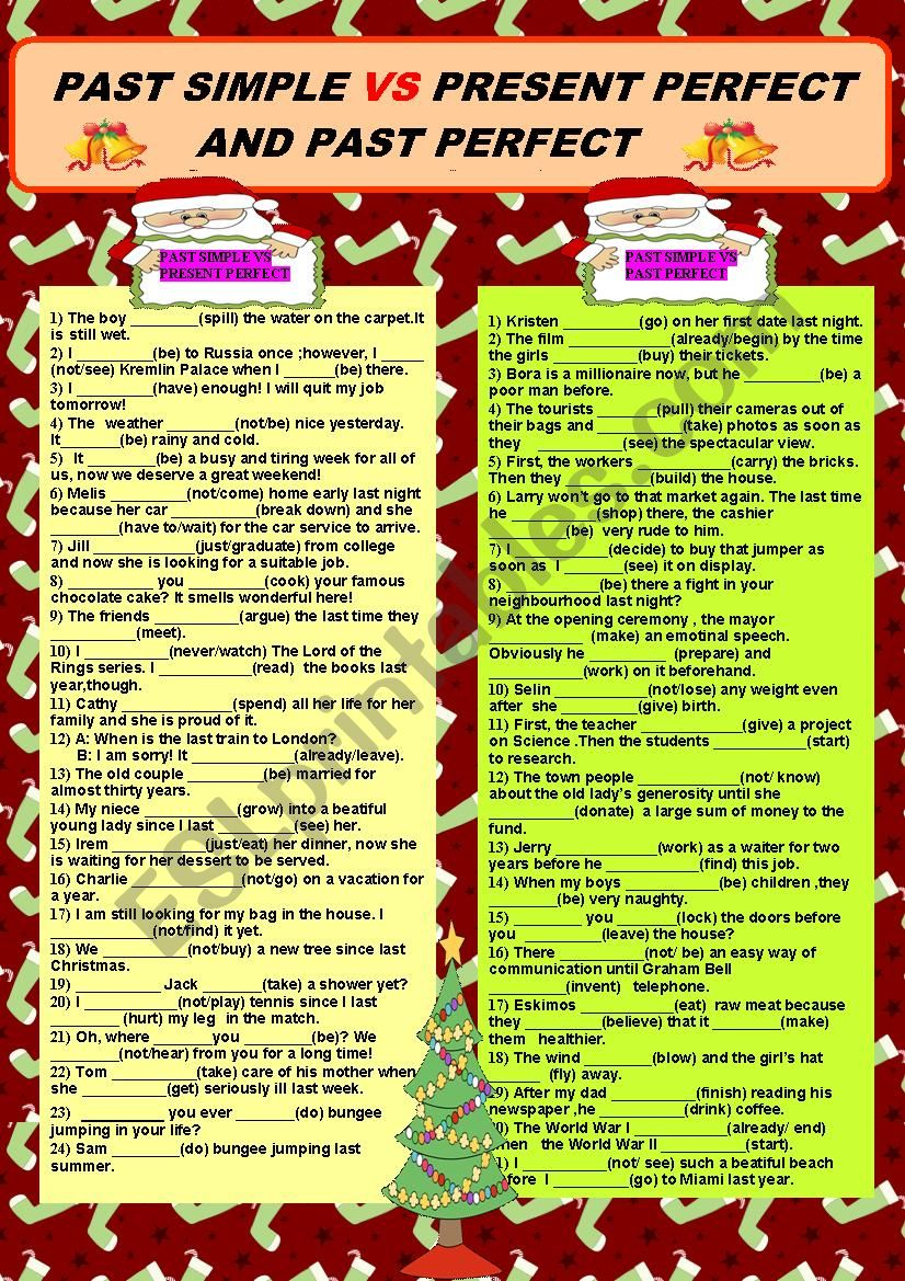 Past Simple Vs Present Perfect and Past Perfect + KEY
