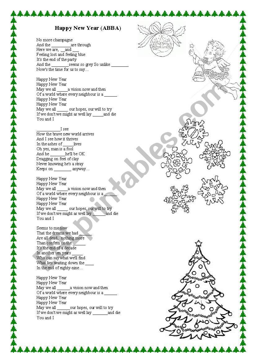 Happy New Year (ABBA) worksheet