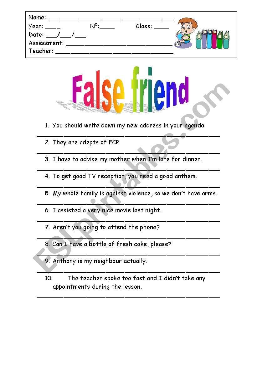 False Friend worksheet
