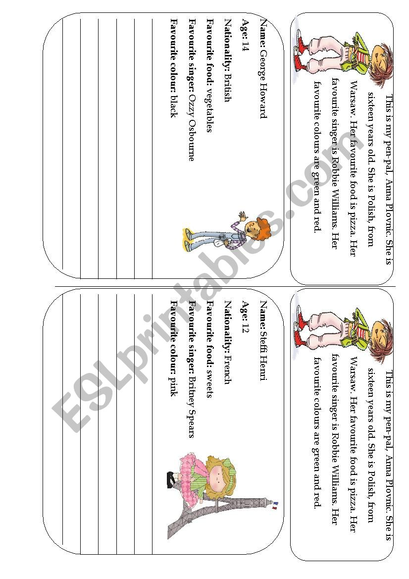 A letter to a new pen-pal  (10 letters, 5 pages) - ESL worksheet by