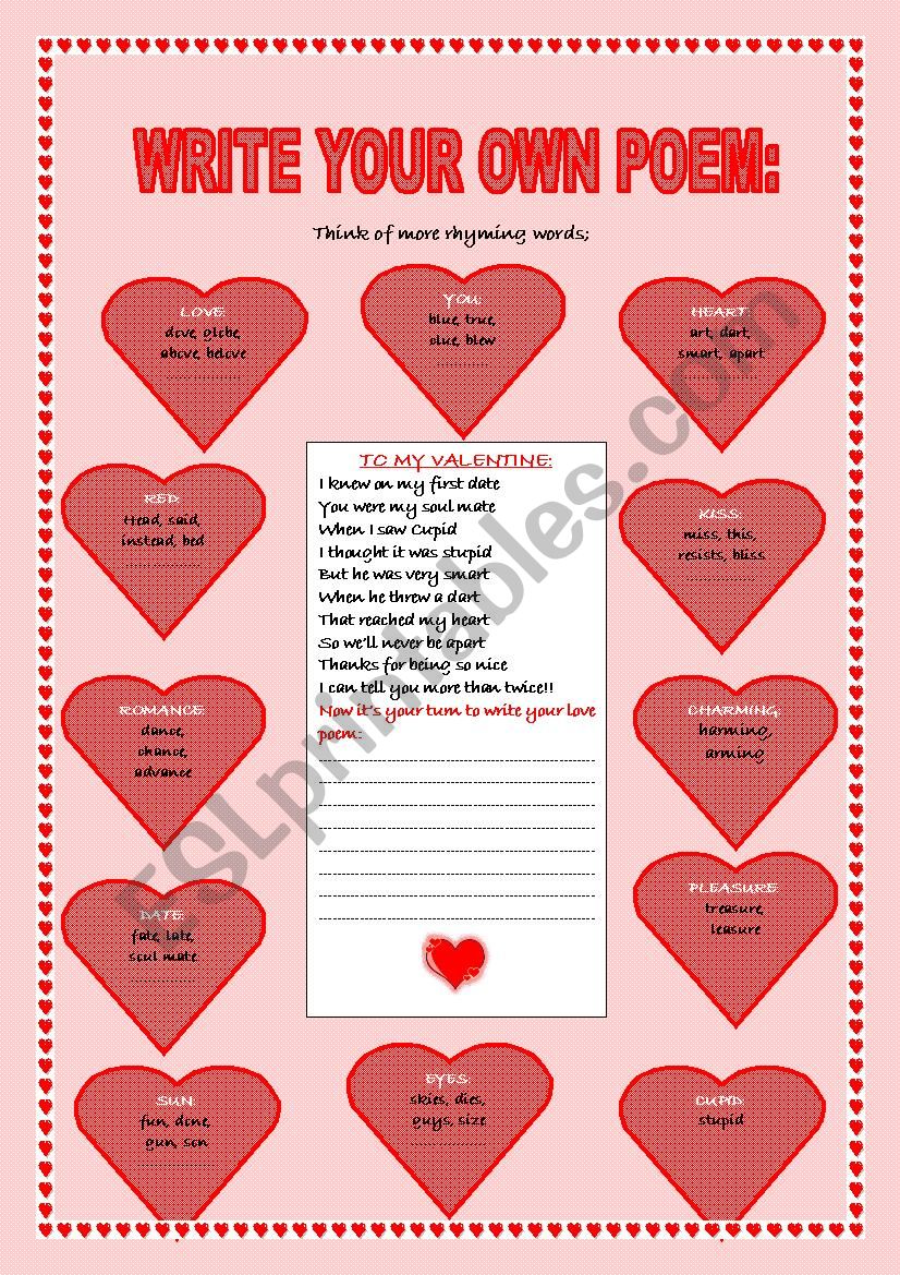 WRITE YOUR OWN LOVE POEM FOR VALENTINE´S DAY