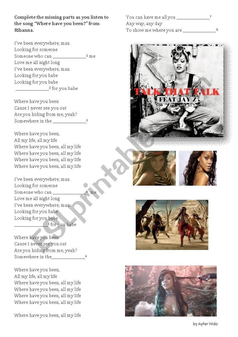 Where Have You Been By Rihanna Esl Worksheet By 06 04