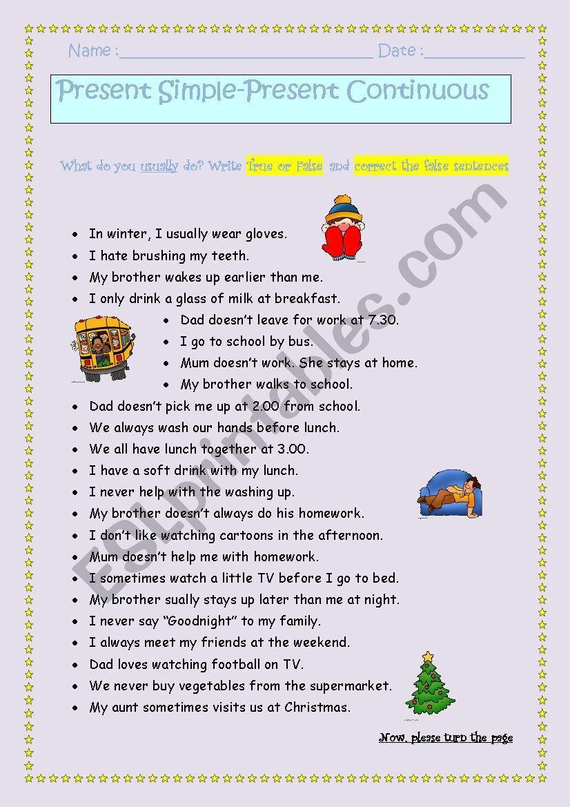 Present Simple and Present Continuous***personalised answers *** fully editable***