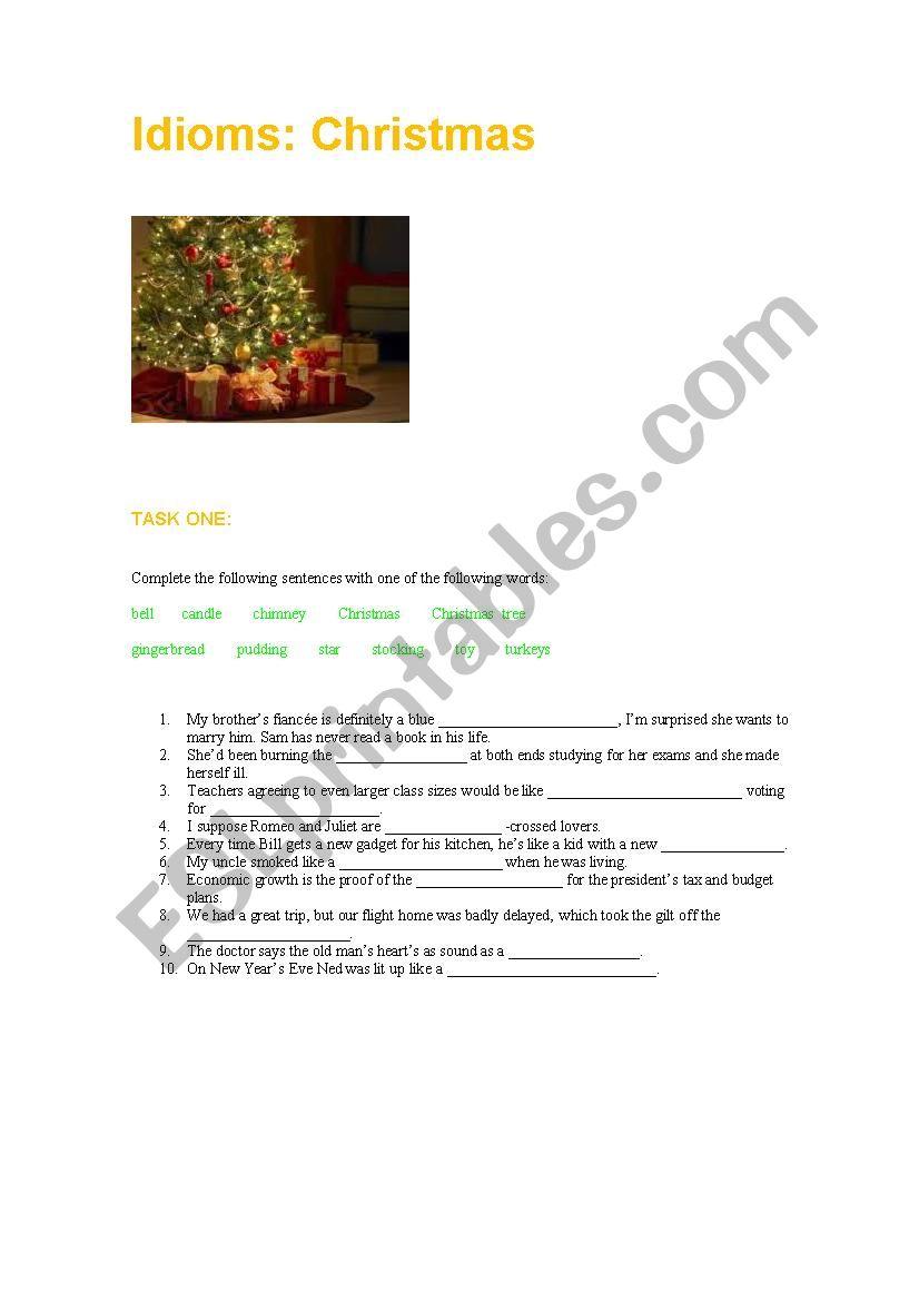 idioms christmas worksheet - Christmas Idioms