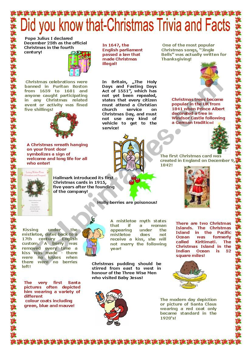Christmas Trivia Facts.Christmas Trivia And Facts Reuploaded Esl Worksheet By