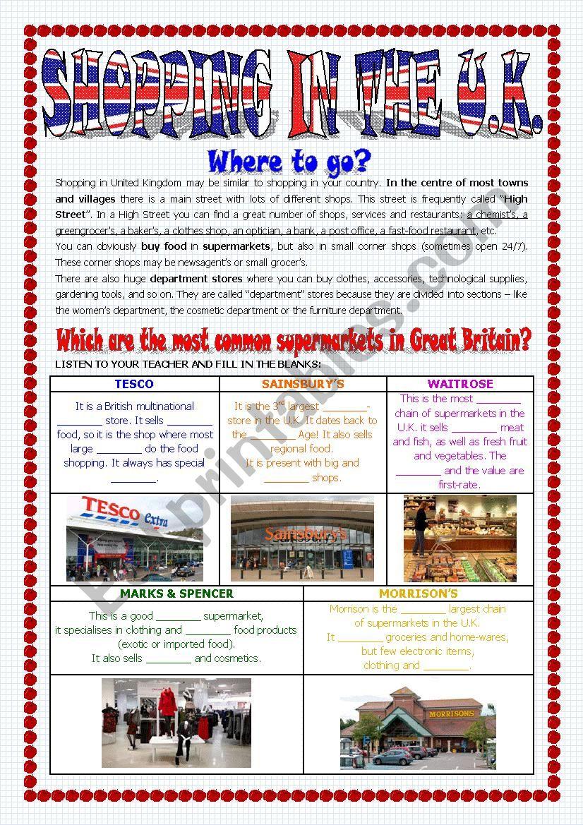 SHOPPING IN THE UK worksheet