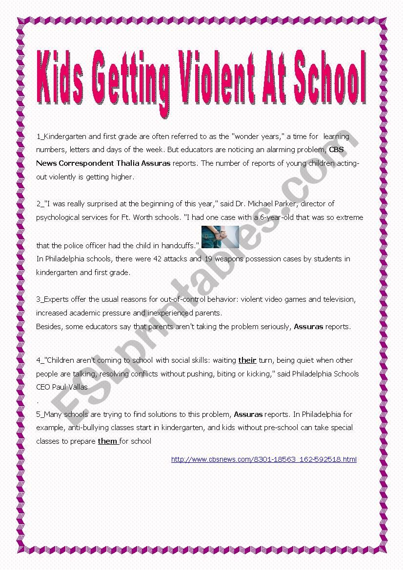 9th form test (text +questions) Kids Getting Violent At School