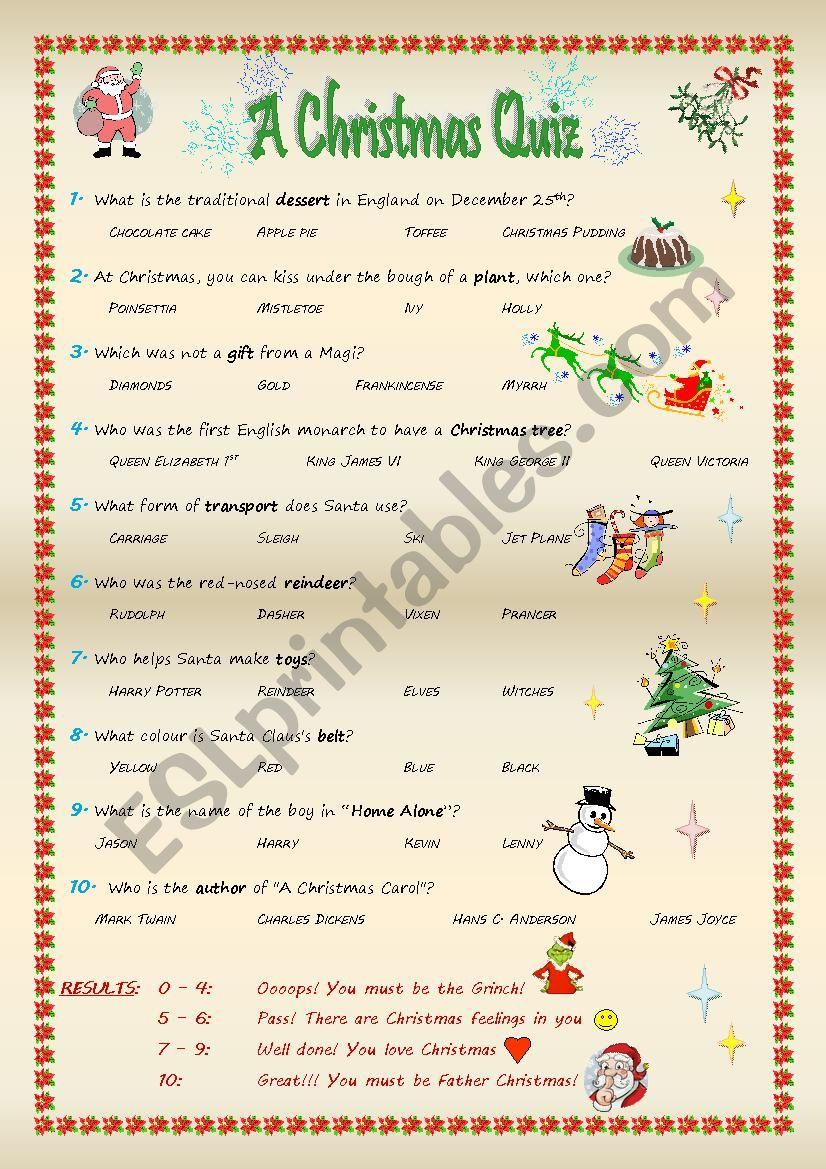 A Christmas Quiz worksheet