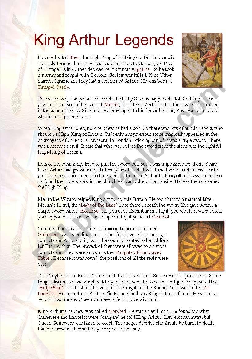 King Arthur Legends worksheet