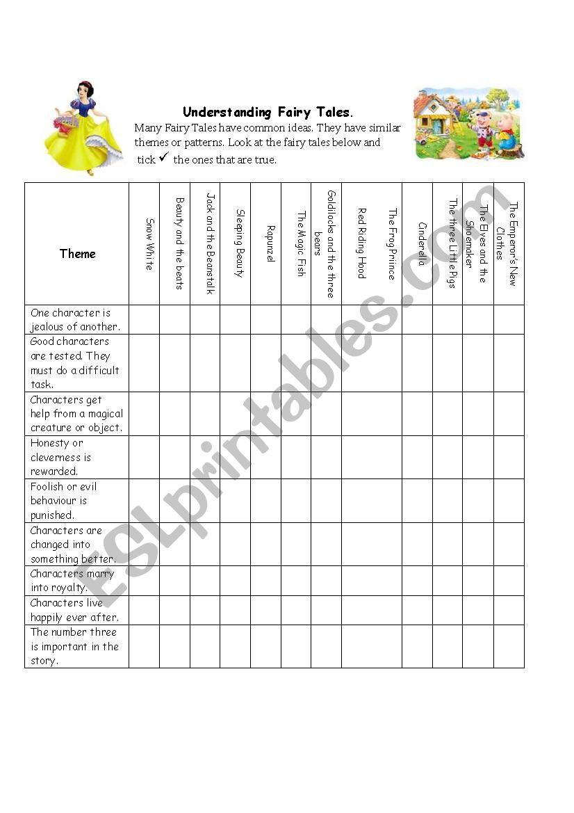 Fairy Tale Themes worksheet