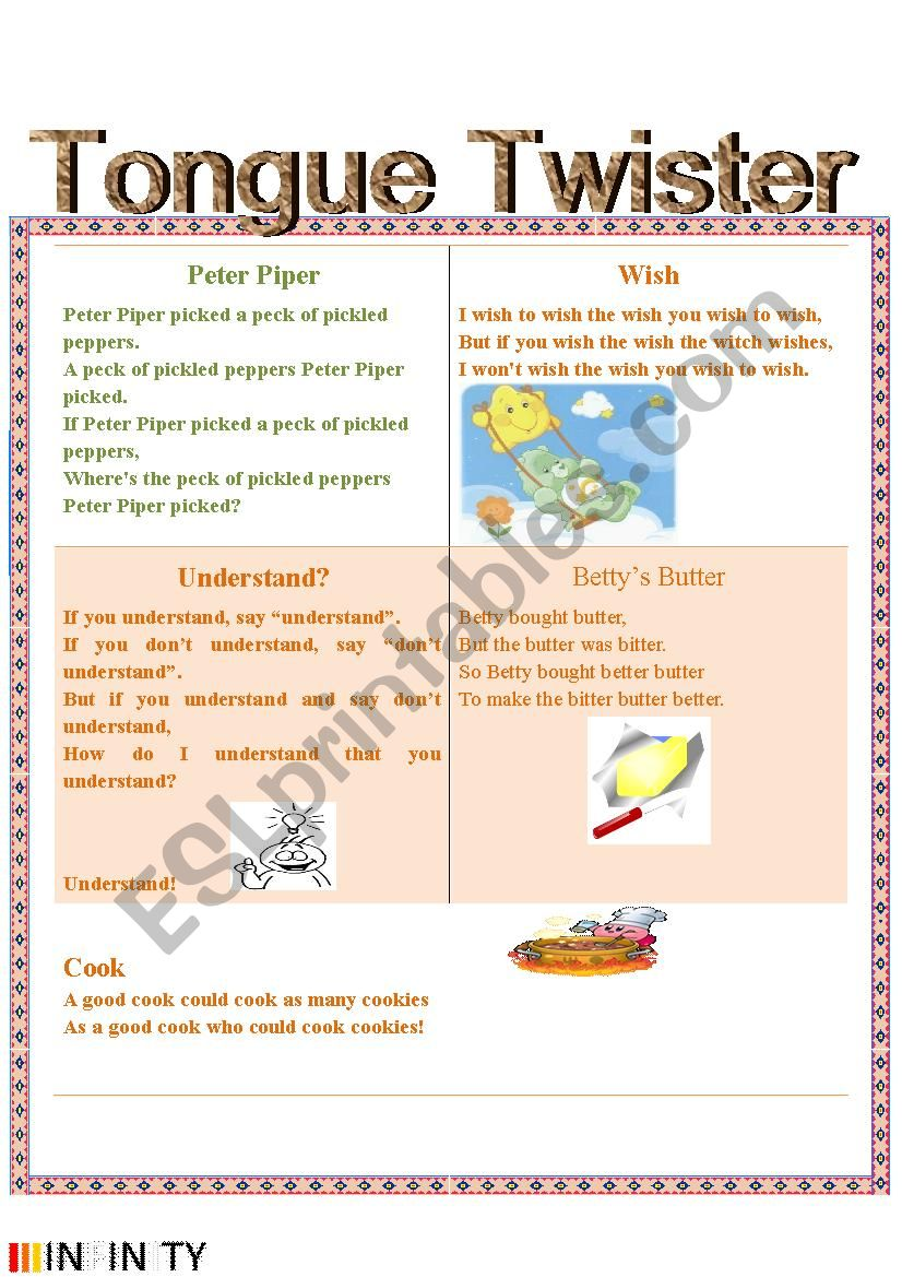 Tongue Twister worksheet