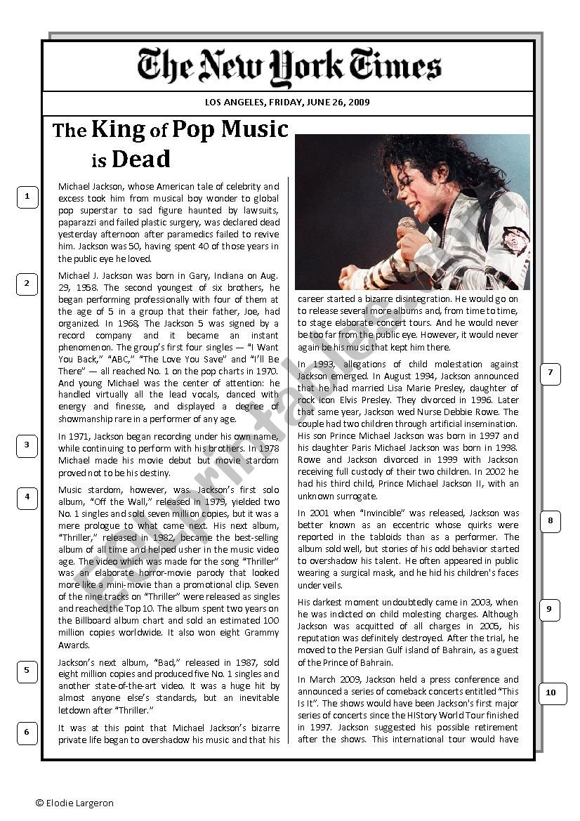 Michael Jackson´s obituary worksheet