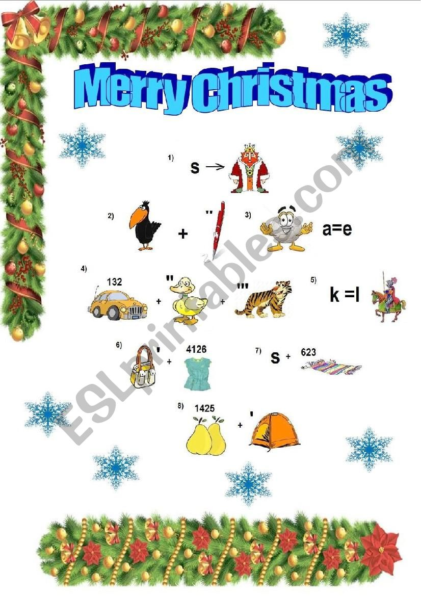 Christmas Rebus worksheet