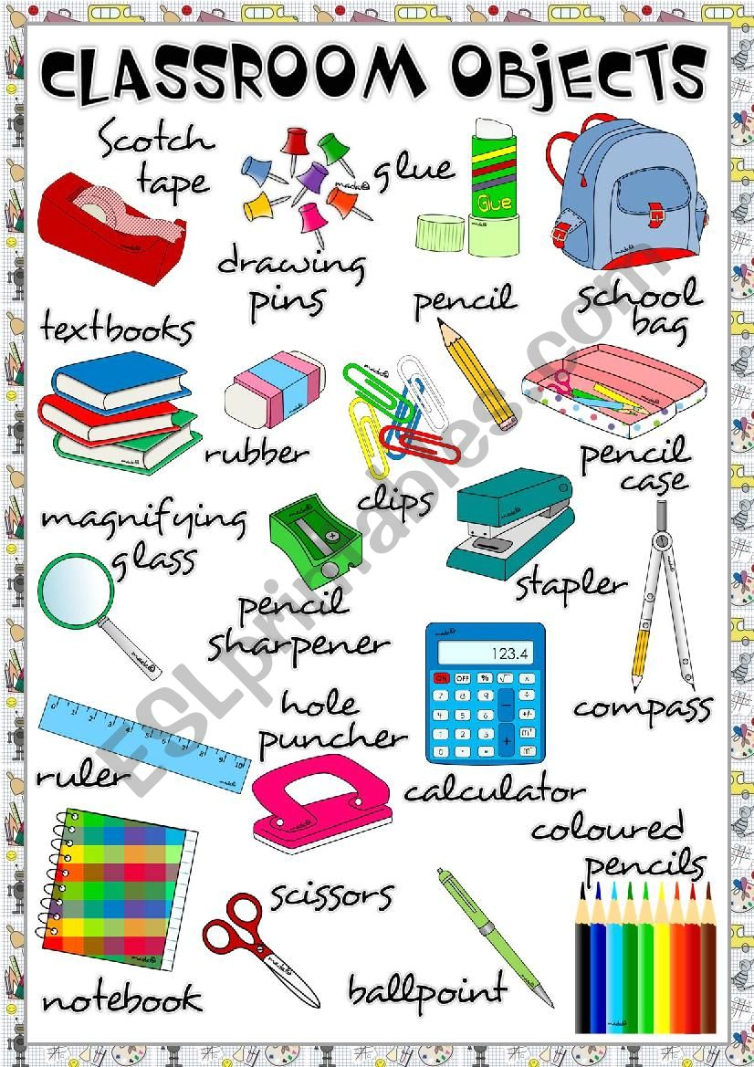 Classroom objects - poster worksheet