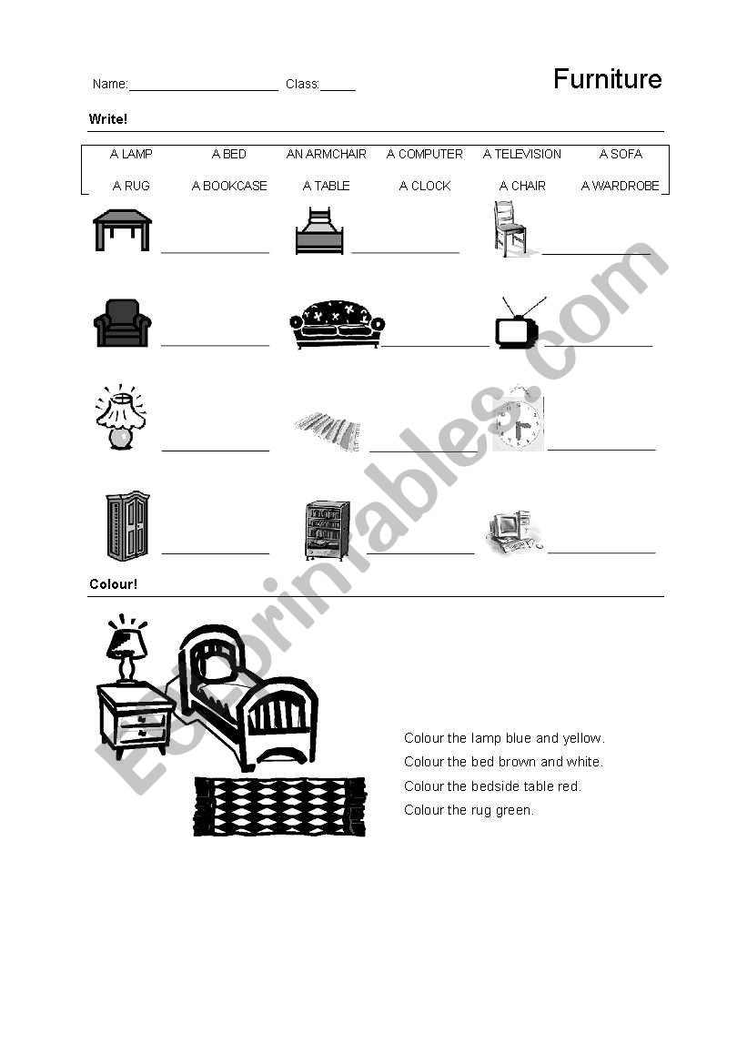 Rooms Worksheet: English Worksheets: Furniture And Rooms