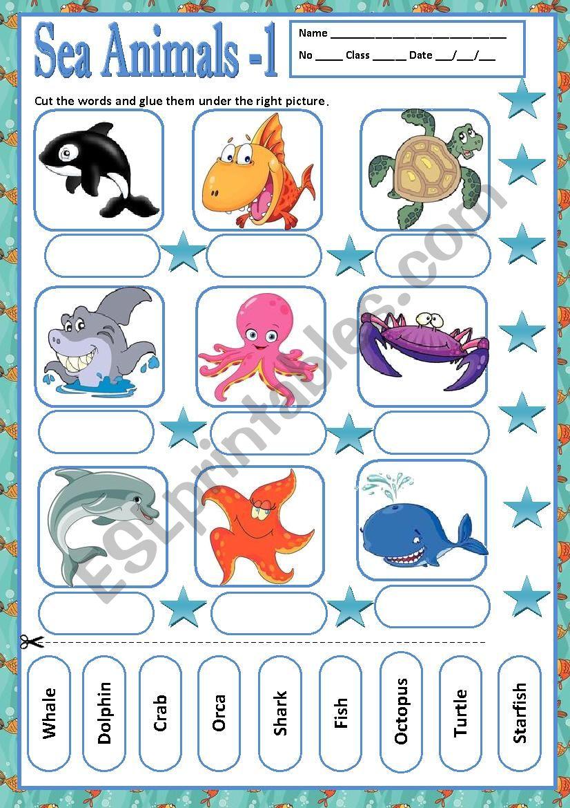 SEA ANIMALS 1 - MATCHING worksheet