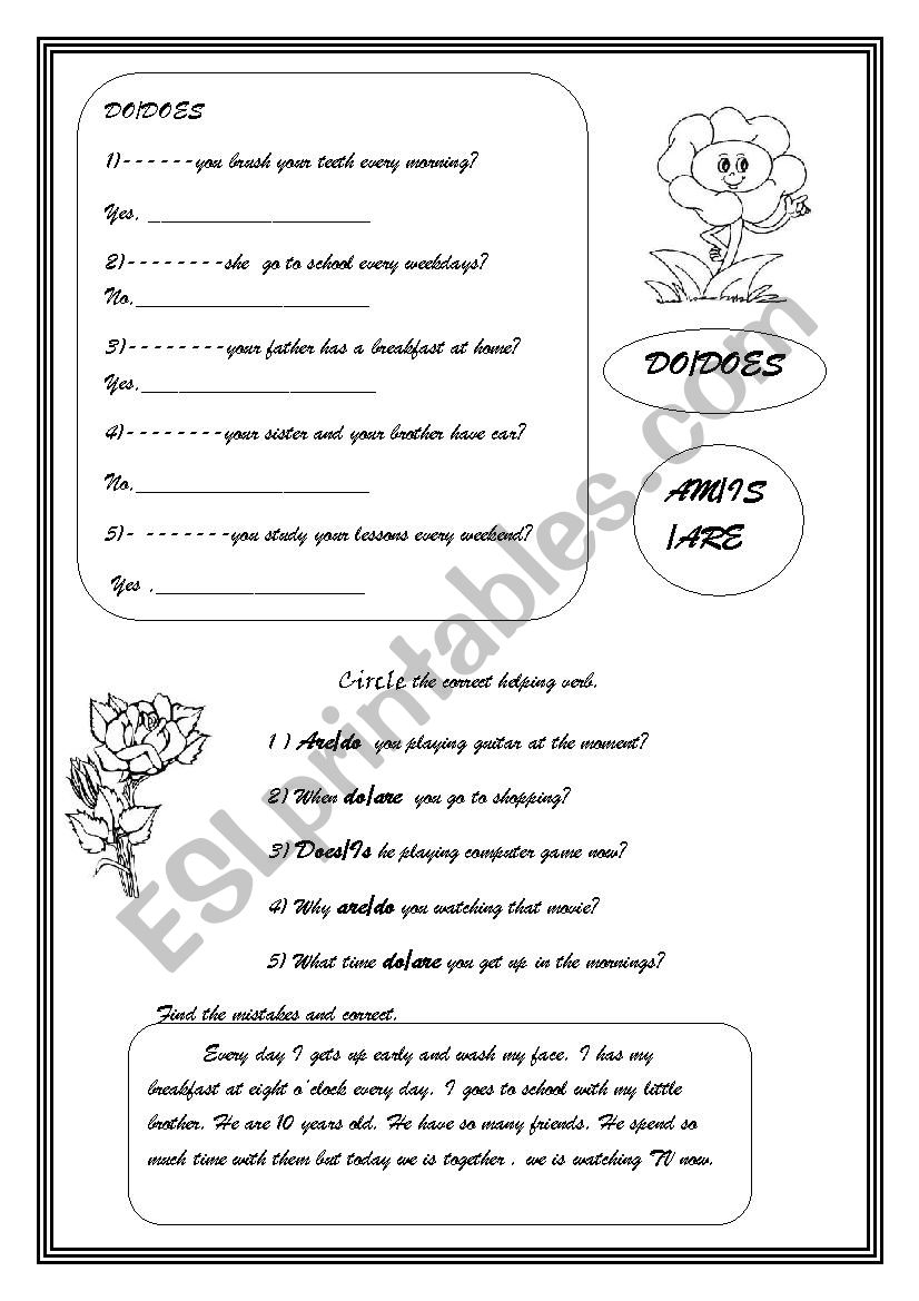 Do,does /To be worksheet