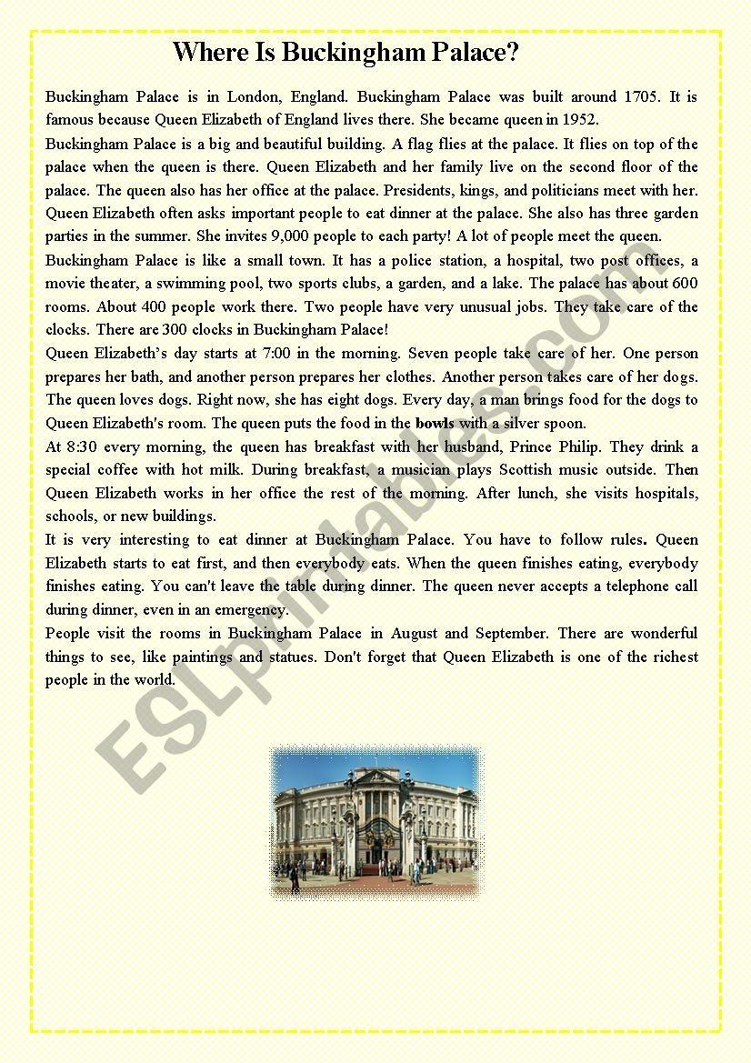 Where Is Buckingham Palace? worksheet