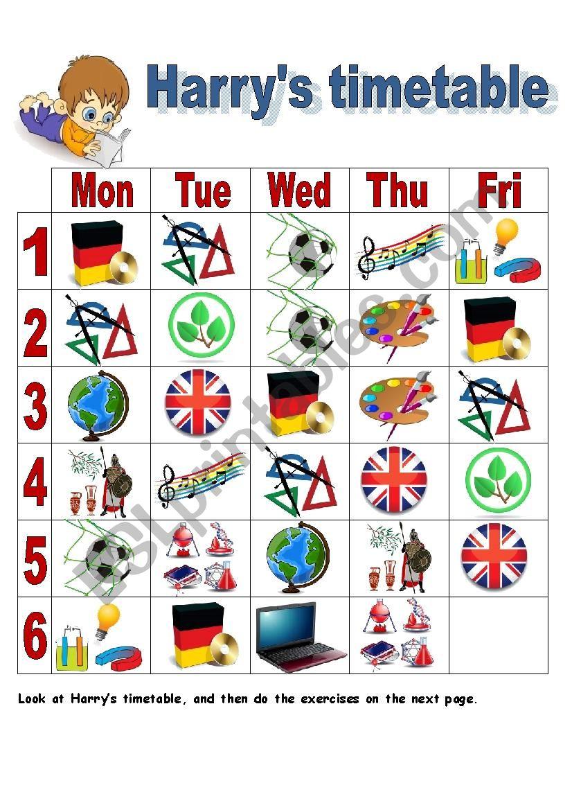 Harry´s timetable worksheet