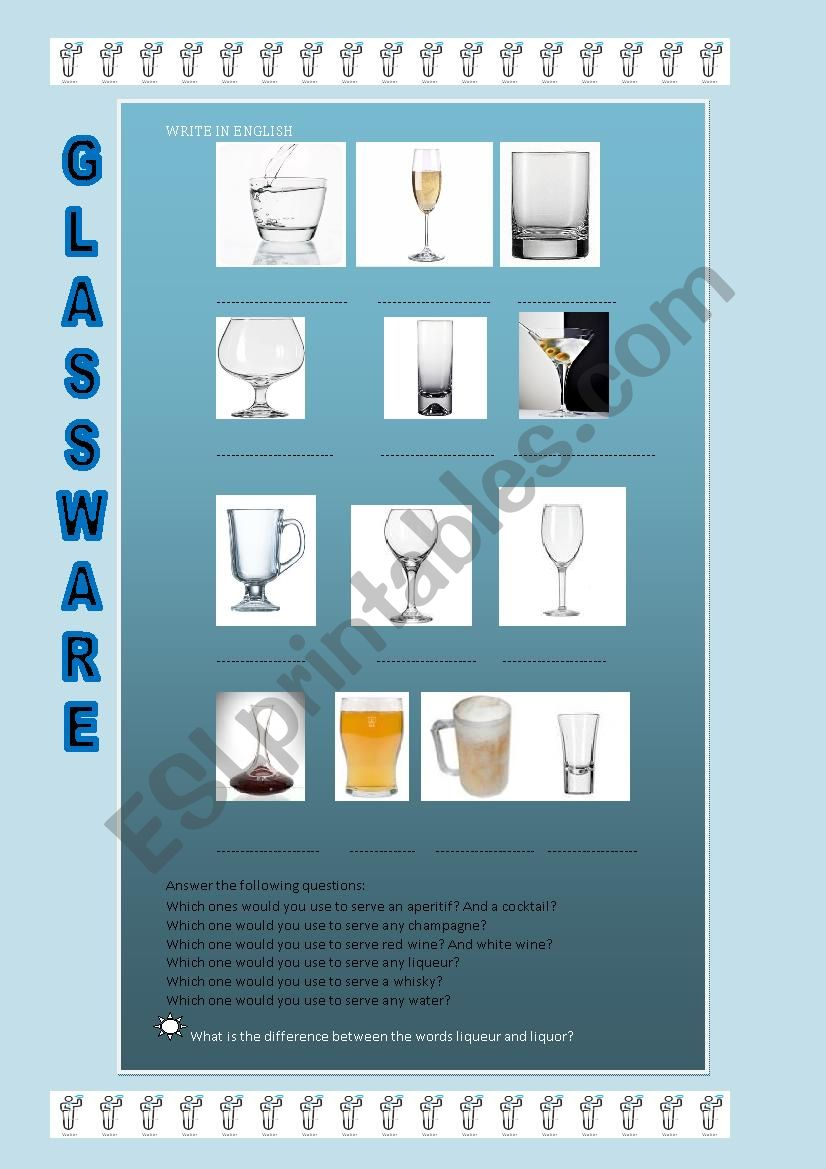 glassware worksheet