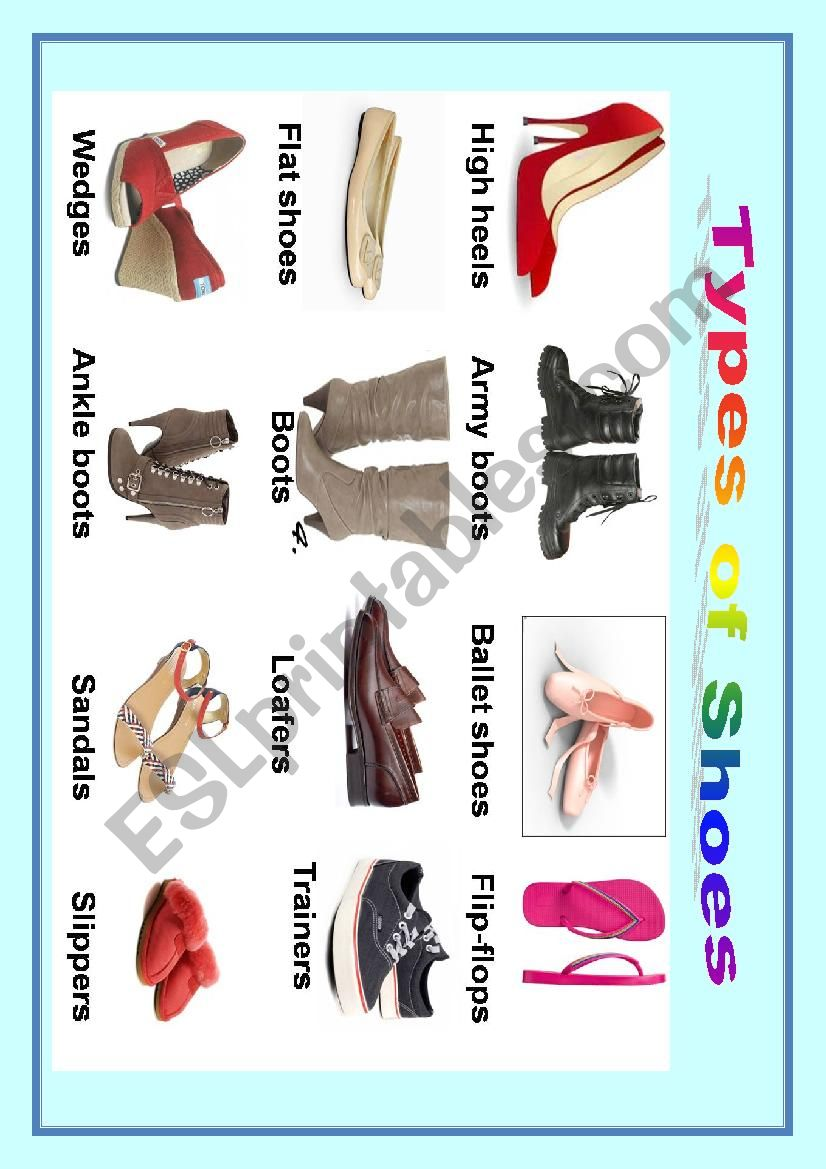 Types of shoes worksheet