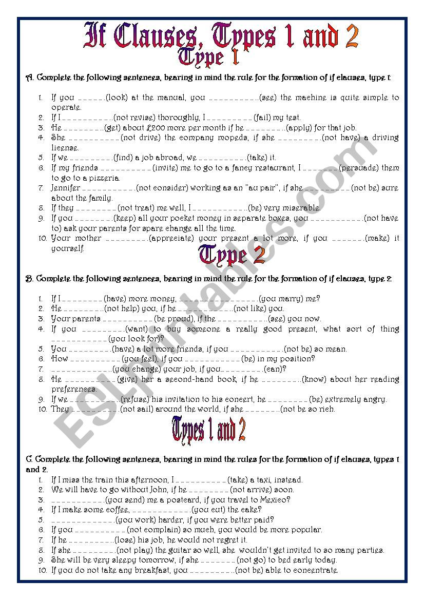 If clauses, types I and II worksheet