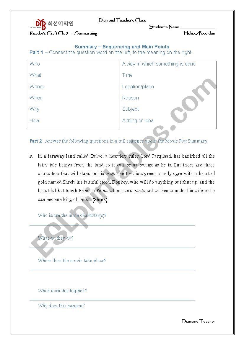 How to Summarize worksheet