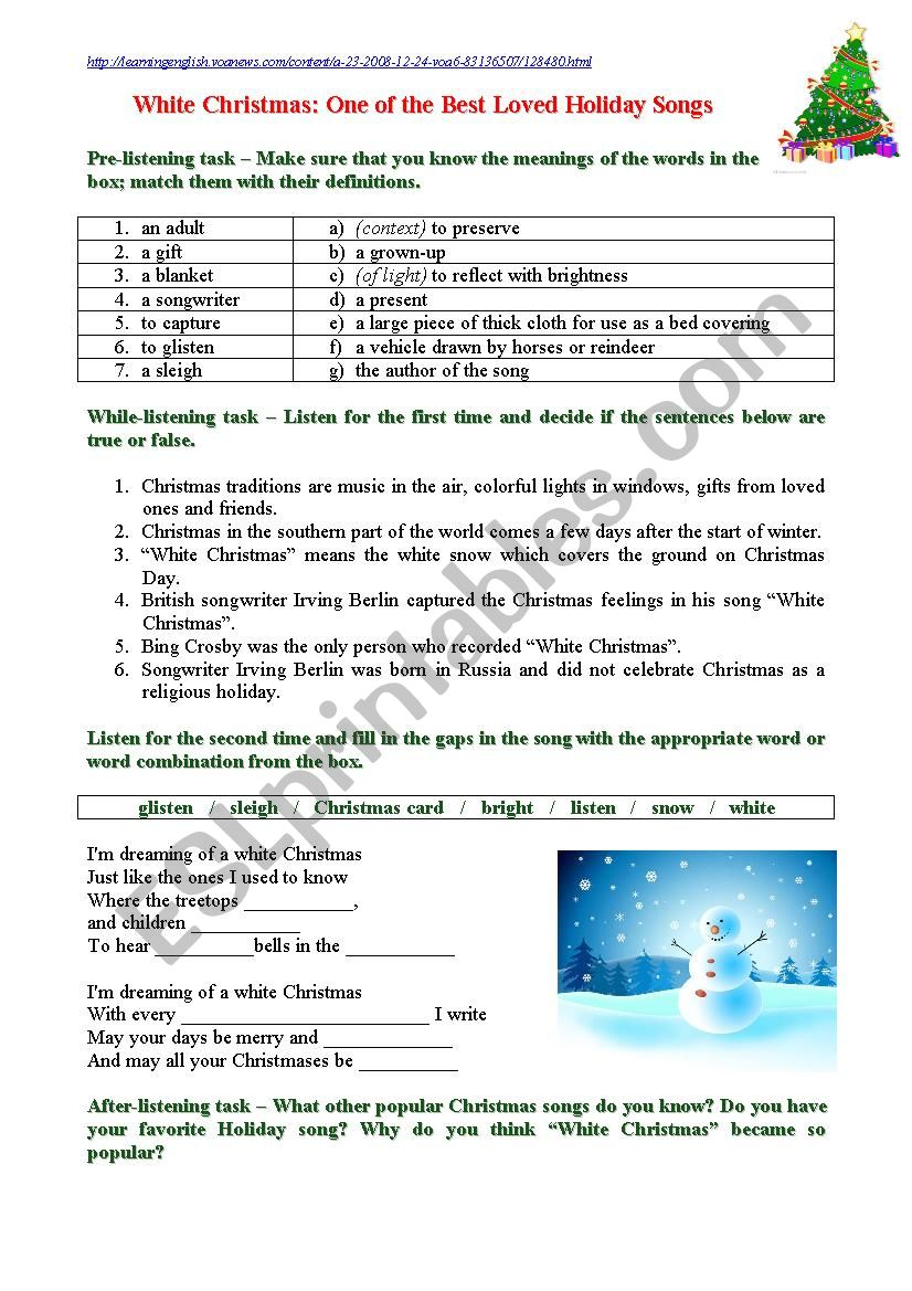 White Christmas: One of the Best Loved Holiday Songs - ESL worksheet ...