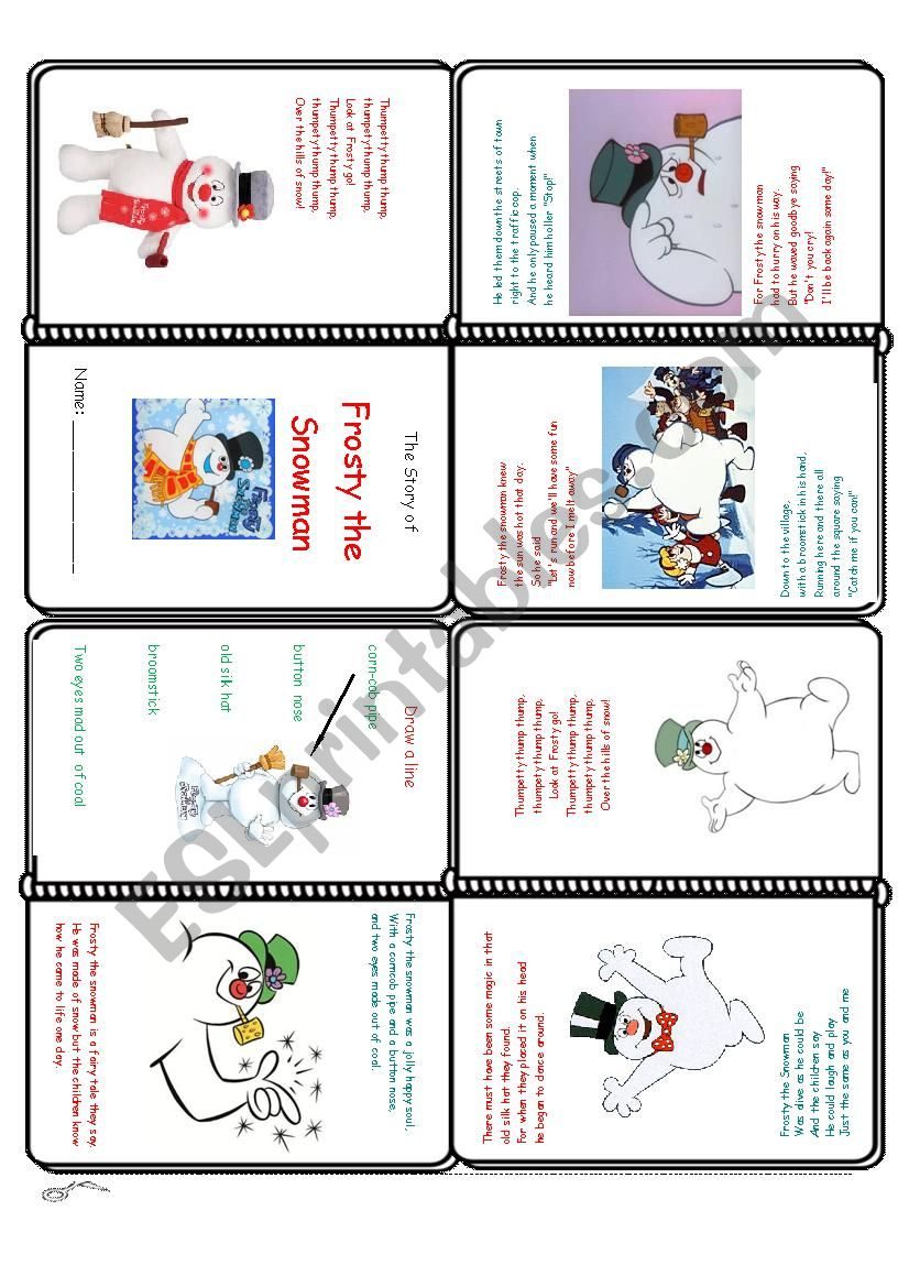 photograph regarding Frosty the Snowman Lyrics Printable named Frosty the Snowman Mini-Reserve - ESL worksheet by way of EstherLee76