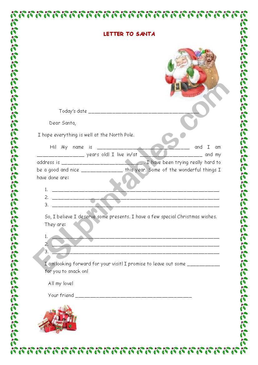 A letter to Santa worksheet