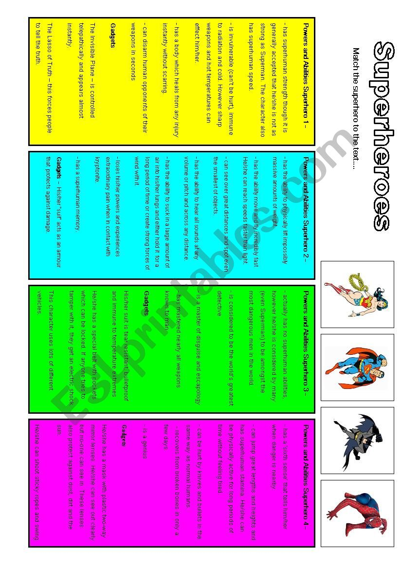 Superhero - reading exercise worksheet